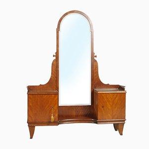 Italian Art Deco Walnut Vanity Cabinet, 1920s