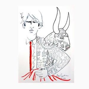 Lithographie Taureaux par Jean Cocteau pour Trinckvel, 1965