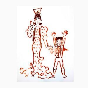 Lithographie Mère et Enfant par Jean Cocteau, 1965