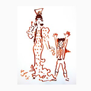 Mother & Son Lithograph by Jean Cocteau, 1965