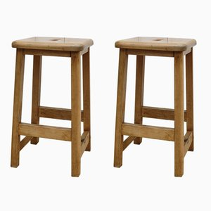 Vintage English Science Lab School Stools, Set of 2