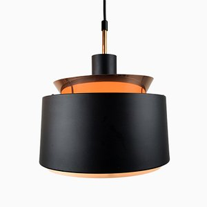 Mid-Century Black and Copper Color Pendant Light