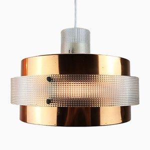 Lampe à Suspension Mid-Century en Cuivre et Plastique, 1960s