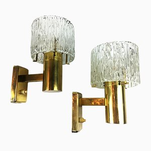 Glass and Brass Wall Sconces by Carl Fagerlund for Orrefors, 1960s, Set of 2