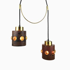 Mid-Century Glass Hanging Pendant Light with Brass Suspension by Nanny Still Mckinney for Raak