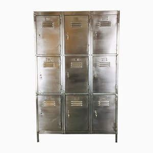 Vintage Steel Locker with 9 Compartments, 1920s