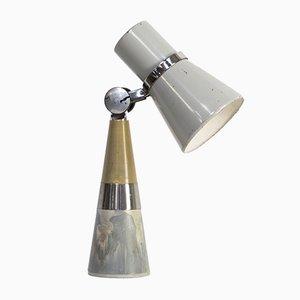Lámpara de escritorio o mesa de metal de Leiha, años 50
