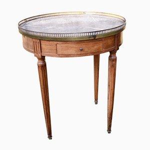 Table Bouillotte Vintage en Acajou et Marbre