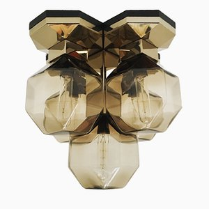 Golden Modular Lamp with Smoked Glass Lampshades by Motoko Ishii for Staff, 1974