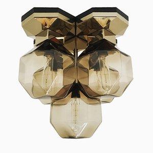 Lámpara modular dorada con pantallas de cristal ahumado de Motoko Ishii para Staff, 1974