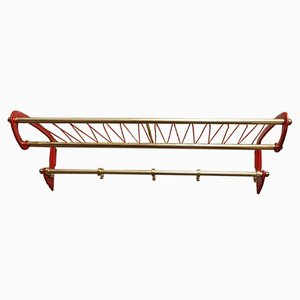 Vintage Red Brass Wall Coat Rack, 1956