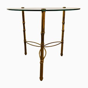 Pedestal Table with Bronze Legs and Glass Top by Jacques Adnet, 1950s