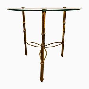 Säulentisch mit Beinen aus Bronze & Tischplatte aus Glas von Jacques Adnet, 1950er
