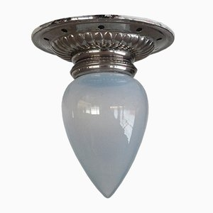 Art Nouveau Opaline Glass Ceiling Lamp, 1910s