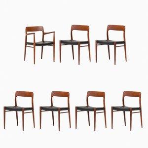 Esszimmerstühle von Niels O. Moller für J.L. Moller, 1950er, 7er Set