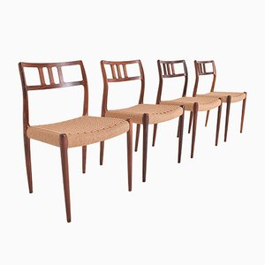 Vintage Rio Rosewood Model 79 Chairs by Niels O. Møller for J.L. Møllers, Set of 4