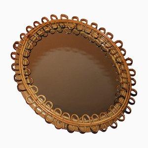 Runder Vintage Spiegel aus Korbgeflecht