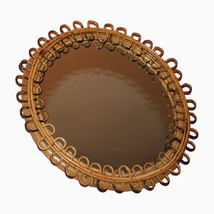 Vintage Wicker Round Mirror