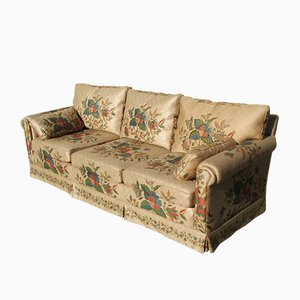 Large 3-4 Seater Floral Fabric Sofa, 1980s