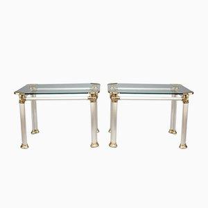 Mesas auxiliares de acero cepillado, latón y vidrio, años 60. Juego de 2