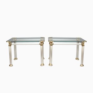 Tavolini in acciaio spazzolato, ottone e vetro, anni '60, set di 2