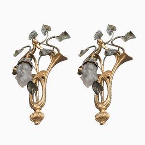 Antike Jugendstil Wandlampen, 2er Set