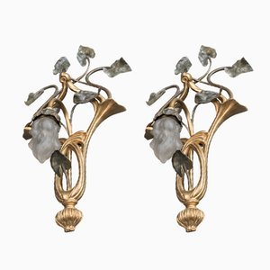 Antique Art Nouveau Wall Lights, Set of 2