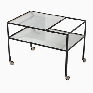 Vintage Black Steel and Ribbed Glass Service Trolley by Herbert Hirche for Christian Holzäpfel KG