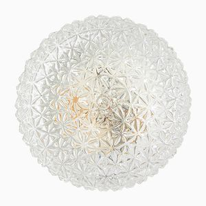 Round Vintage Textured Glass Wall Lamp, 1970s
