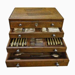 Set di posate con scatola in quercia di Ercuis, anni '20