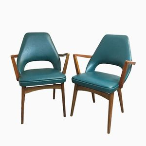 Vintage Turquoise Armchairs, 1973, Set of 2