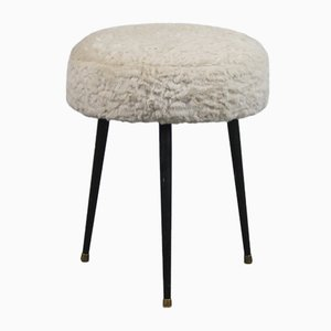 French Furry Stool, 1950s