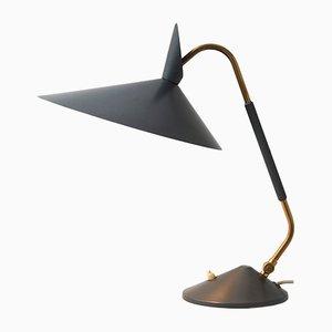 Lampada da tavolo grigia con dettagli in ottone, anni '50