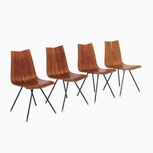 Chaises GA Vintage en Contreplaqué par Hans Bellmann pour Horgen Glarus, Set de 4