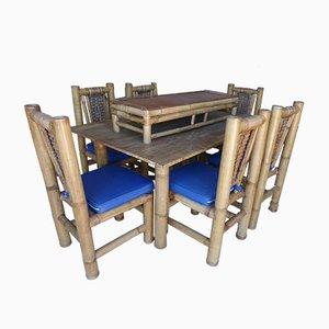 Juego de mesa, seis sillas y mesa auxiliar de bambú, años 60