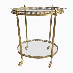 Vintage Italian Oval Brass Drinks Trolley