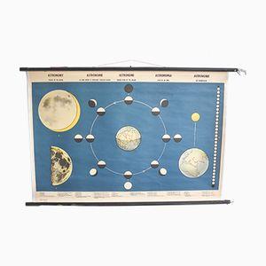 Mondphasen Astronomie-Lehrtafel von N. Ringström für Interdidact, 1960er