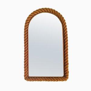 Großer Spiegel mit Seilrahmen von Adrien Audoux & Frida Minet, 1950er