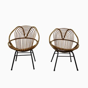 Rattan Lounge Chairs by Rohé Noordwolde, 1960s, Set of 2