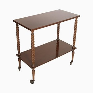 Italian Walnut Bar Cart or Console Table, 1950s