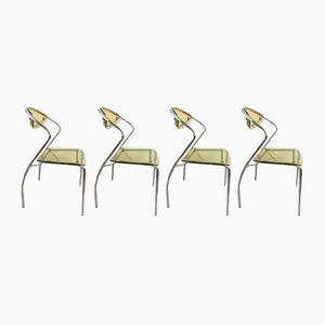 Chaises en Plexiglas & en Chrome, 1980s, Set de 4