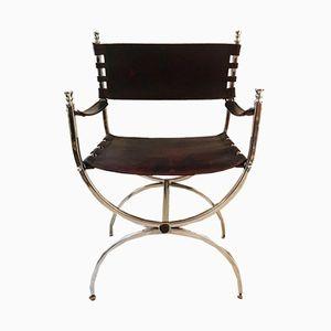 Armlehnstuhl aus Aluminium & Leder von Maison Jansen, 1970er