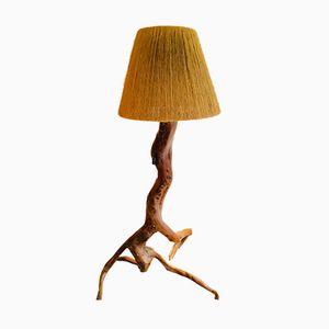 Lampada da terra vintage in legno d'ulivo, anni '50