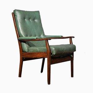 Vintage Scandinavian Walnut and Leather Armchair
