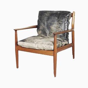 Sedia nr. 218 in pelle di Grete Jalk per Glostrup, anni '50