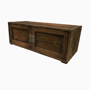 Small Antique Solid Oak Cabinet, 1900s