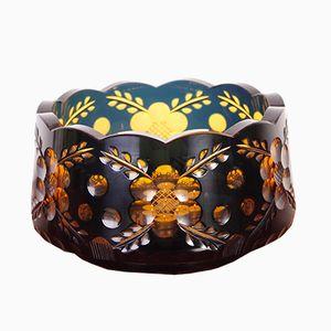 Scodella vintage in vetro di Boemia color ambra