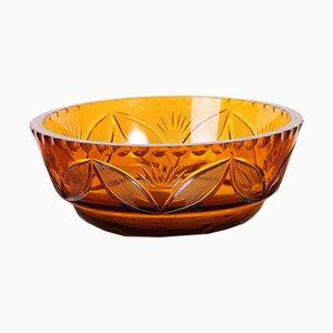 Böhmische Vintage Glasschale in Bernsteingelb mit Schliff