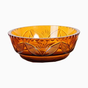 Vintage Bohemian Amber Cut Glass Bowl