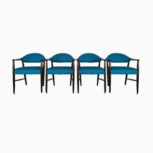 Danish Dark Stained Beech Armchairs by Kurt Olsen for Slagelse, 1950s, Set of 4